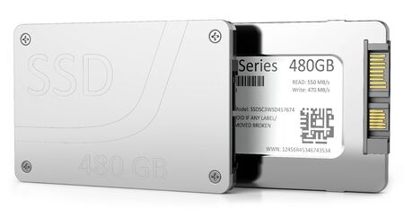 SSD hard disk isolated on white background Stock Photo