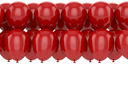 balloon bouquet: Red balloons with reflection on a white background