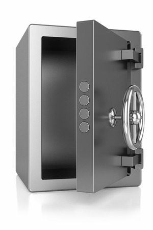bank records: open metallic safe, isolated on white background