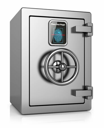 bank records: metal safe with a scanner for fingerprint isolated on a white background Stock Photo