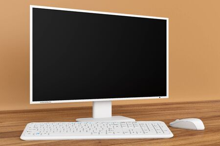 white work: White computer to work on the wooden table Stock Photo