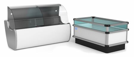 refrigerated: Two refrigerated display cases isolated on white background Stock Photo