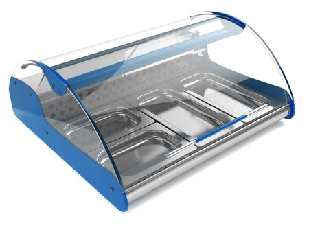 refrigerated: refrigerated display case with curved glass for shops and supermarkets, isolated on a white background