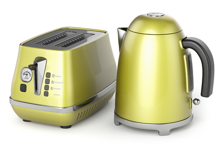 electric kettle: electric kettle and toaster yellow metal isolated on white background 3d Stock Photo