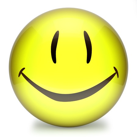 disposition: Yellow smiley,emoticon face funny 3d isolated on white background Stock Photo