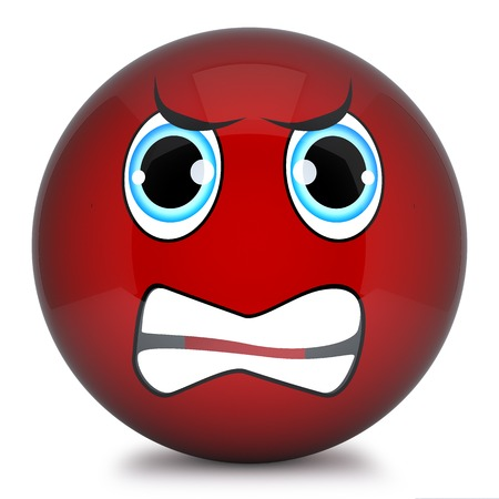 disposition: Red smiley,emoticon face funny 3d isolated on white background