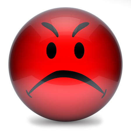 disposition: Red smiley,emoticon face funny 3d isolated on white background  3d