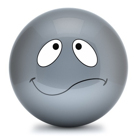 disposition: Grey smiley isolated on white background 3d