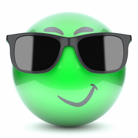 green smiley face: green smiley face with glasses isolated on white background  3d