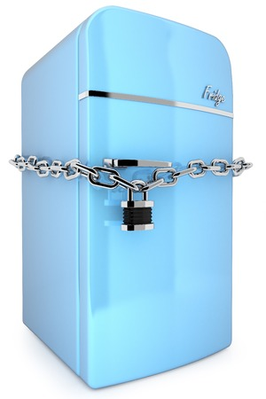 refrigerated: Blue retro fridge with chain and padlock isolated on white background