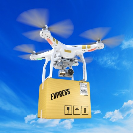 White mailing quadrocopter drone with a video camera in the clouds 3D Stock Photo