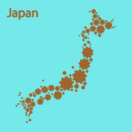 nagasaki: Abstract map of Japan Illustration
