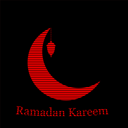 Ramadan Kareem greeting background islamic symbol crescent with arabic pattern - line calligraphy and lantern. Vector moon with a lantern.