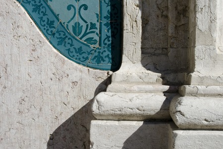 pilaster: Detail of the pilaster of the exterior facade of the church in Mexico Stock Photo