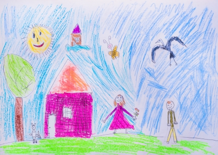 Children s drawing, boy and girl in clearing near house