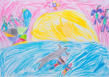 Children s drawing, sunset at sea Stock Photo - 21495893