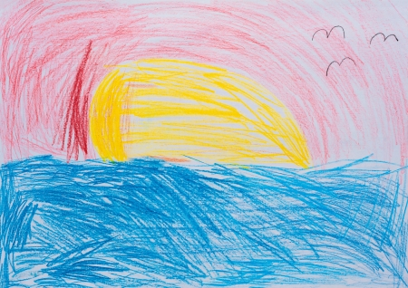 Children s drawing, sunset at sea photo