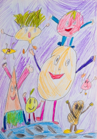 Children s drawing pencil, funny fruits and vegetables photo