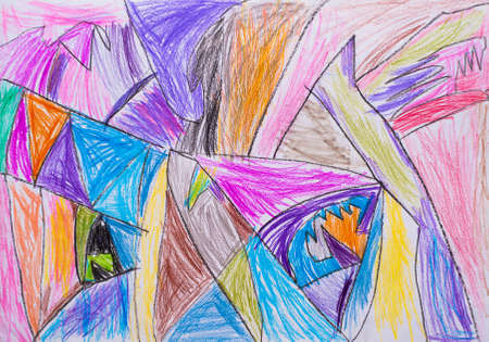 child s: Abstraction child s drawing pencil