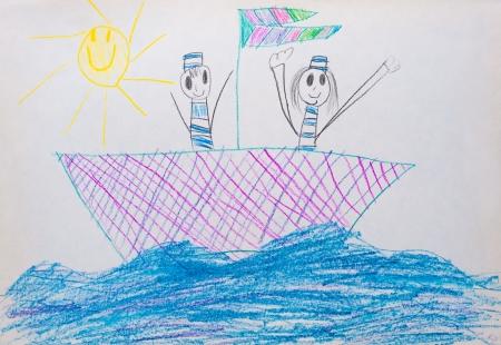 こども s 人と船の描画 写真素材