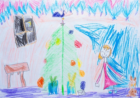 Children s drawing New Year pensil photo