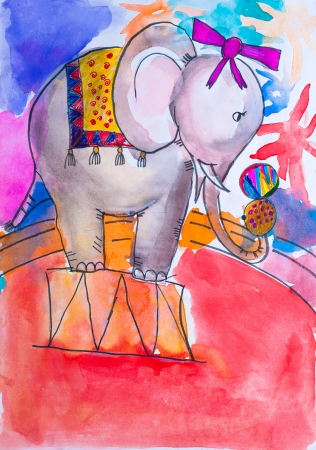 Children s drawing Circus  elephant watercolor Stock Photo - 21495960