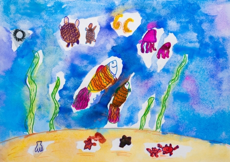 Children s drawing fish in sea watercolor