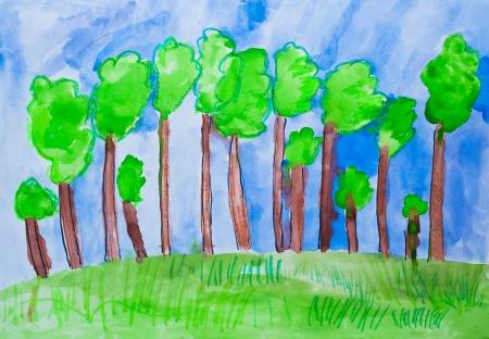 子供 s 図面森林水彩画