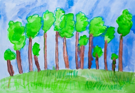 Children s drawing forest watercolor photo