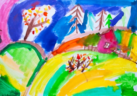 Children s drawing  house watercolor photo