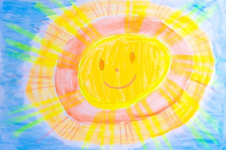 Children s drawing watercolor sun