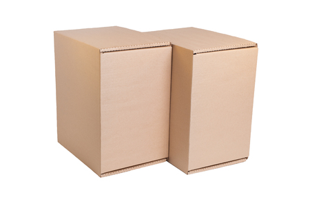 Stack of cardboard boxes isolated on white photo
