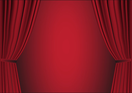 Red open curtain with light spots in a theater Vector