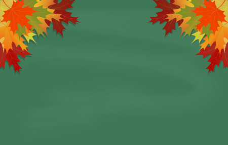 Maple leaves on green chalkboard with chalk  Vector