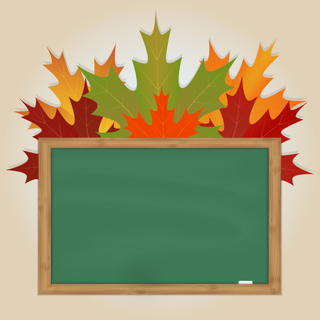 Maple leaves on green chalkboard with chalk in a wooden frame Vector