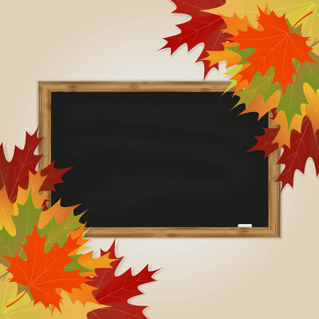 Maple leaves and black chalkboard with chalk in a wooden frame Vector