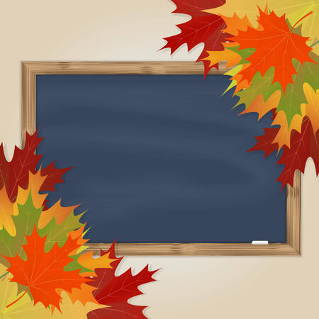 Maple leaves and grey chalkboard with chalk in a wooden frame Vector