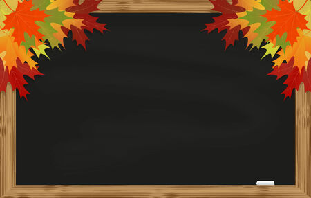 Maple leaves on black chalkboard with chalk in a wooden frame Vector