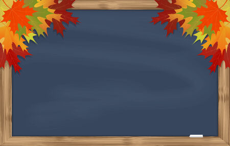 Maple leaves on grey chalkboard with chalk in a wooden frame Vector