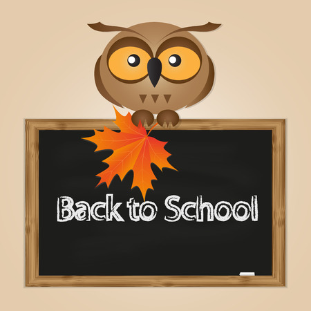 funny owl with school board with text back to school Vector