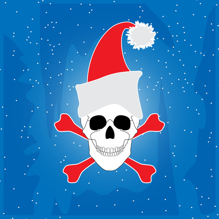christmas skull and crossbones on a blue background Vector