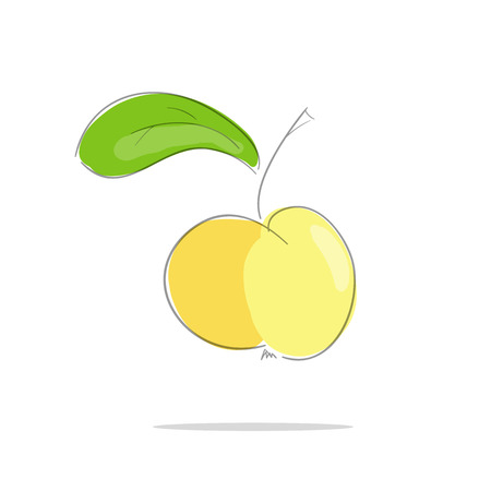 yellow apple: Yellow apple with green leaf a white  background. Vector illustration