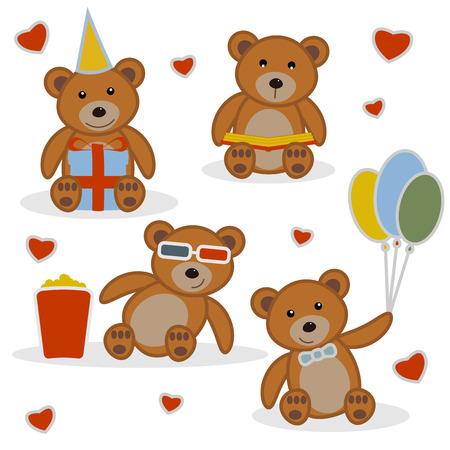 balloons teddy bear: Four funny cartoon bear-cubs. Funny cartoon bear reading a book. Funny cartoon bear with balloons. Funny cartoon bear with gift. Funny cartoon bear in cinema. Background with hearts. Set vector.