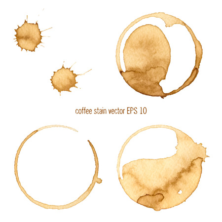 Coffee Stain, Isolated On White Background. Collection of circle various coffee stains isolated on white background