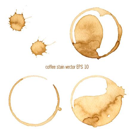 Coffee Stain, op een witte achtergrond. Verzameling van cirkel verschillende koffievlekken geïsoleerd op witte achtergrond Stock Illustratie