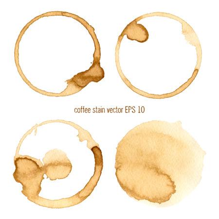 Coffee Stain, isolato su sfondo bianco. Raccolta di cerchio varie macchie di caffè isolato su sfondo bianco Vettoriali