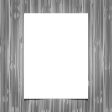 White blank paper sheet on wooden background. Vector illustration.Design element