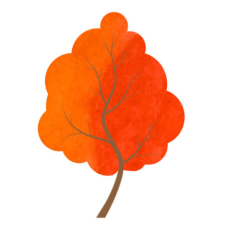 orange tree: Abstract red and orange tree on a white background.Designed abstract watercolor tree, design element.