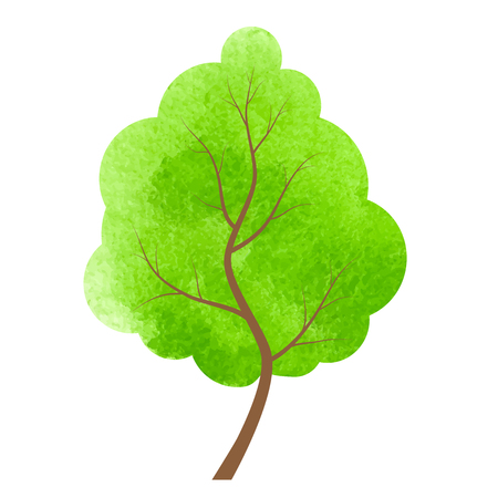 coma: Abstract green tree on a white background.Designed abstract watercolor tree, design element. Illustration