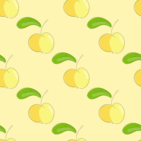 yellow apple: seamless pattern yellow apple with green leaf. vector  illustration. vector wallpaper. design element. Illustration
